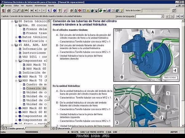 Manual Volkswagen Jetta 2009 Taller y Mantenimiento de Frenos, Ajustadores, Balatas, Boosters, Bujes de Caliper, Discos de Frenos, manguera de frenos, resortes de balatas
