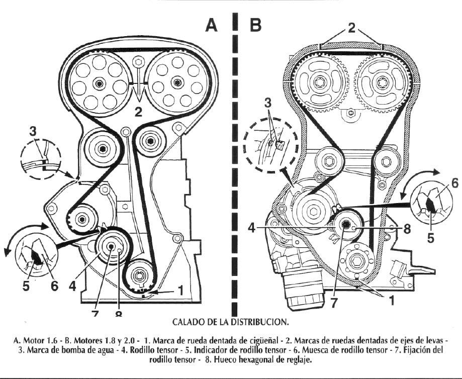 Esquema Banda o Cadena de Distribución Motor Isuzu 4ZB1-T