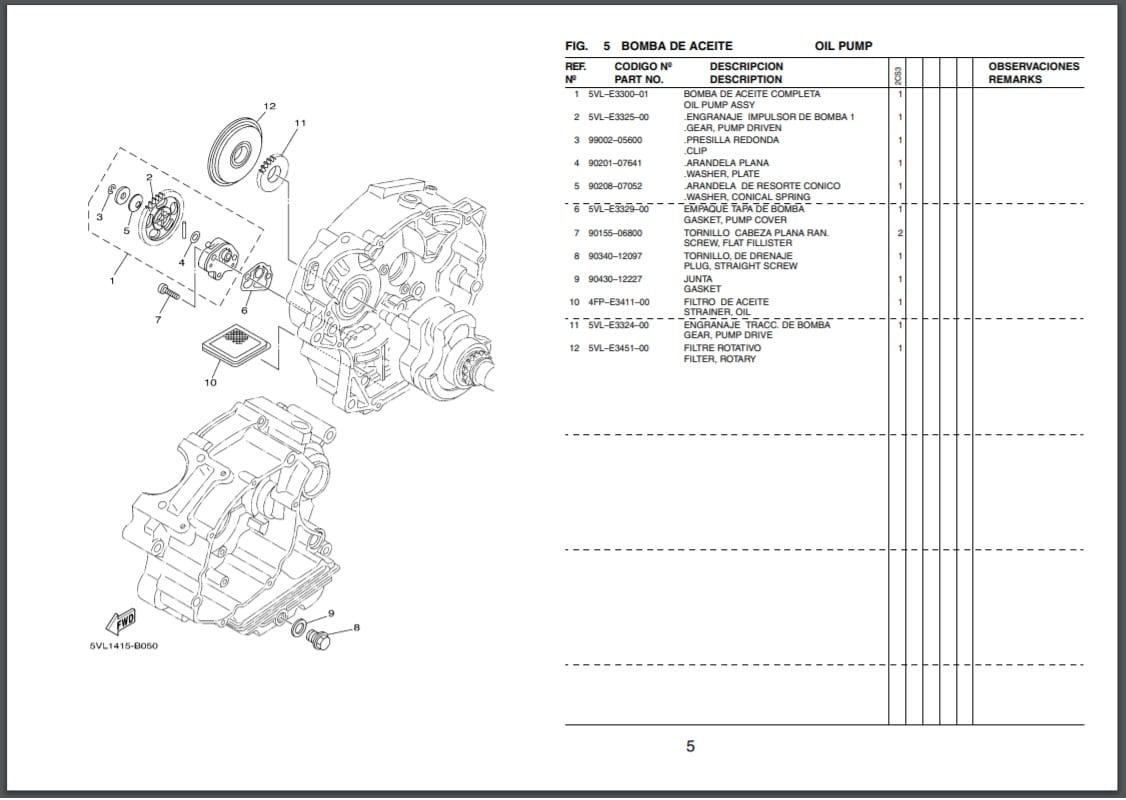 Repuestos motor moto Yamaha 5BNL 2000