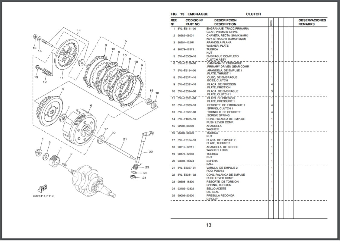 Descargar Manual de Repuestos Moto Yamaha 5BNL 2000